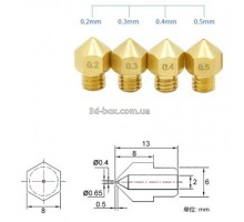 Сопло для 3D-принтера 1.75 мм, для хотэндов E3D и MK8
